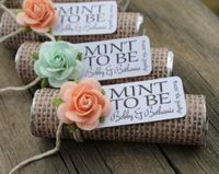 "Mint wedding favors - Set of 24 mint rolls - ""Mint to be"" favors with personalized tag - burlap, mint and peach, rustic, shabby chic"