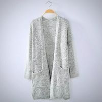 Ladies Plus Size Casual Long Grey Knitted Sweater Cardigan $27.99