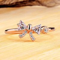 Bow Shaped Rose Gold Plated 0.2 Ct Diamond Women Ring by Gullei.com