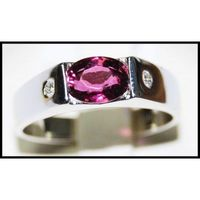 Oval Red Ruby Gemstones Ring Unique 18K White Gold [R0125]