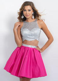 Sparkly Silver Hot Pink Two Piece Beaded Pleated Satin Cocktail Dress