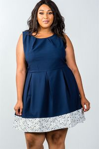 Ladies fashion plus size navy dress $39.99