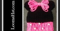 Loom Knit Minnie Mouse Hat on Round Loom - Cute Baby Hat with Pom Pom Animal Ears