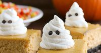 Festive bars are made from pumpkin cheesecake on top of a cookie crust. For Halloween, garnish with whipped cream ghosts for a ghoulish touch. You know how on F