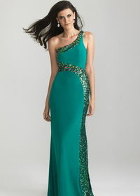 Long Beaded One Shoulder Green Prom Dresses
