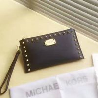 MICHAEL Michael Kors Bedford Studded Saffiano Leather Zip Clutch Navy Blue