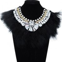 Fashion Jewelry Chain Feather Crystal White Glass Chunky Choker Statement Bib Necklace