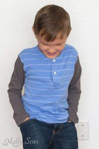 Turn dad's shirt into son's henley with this polo shirt upcycle