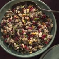 Barley & Wild Rice Pilaf with Pomegranate Seeds...I would probably make it easier by making this with one grain like brown rice.