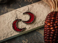 Crescent Moon Red Earrings with hypoallergenic Earring Hooks, Stain glass, Witchy Earrings, Festival juwelry, Boho Style, half moon mirror $22.00