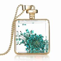 Vintage Square Perfume Glass Wishing Bottle Pendant Crystal Real Flower Healing Double Side Necklace Jewelry Gift Box Pack $3.37