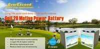EverExceed Golf 28 offers maintenance free deep cycle design which is highly suitable for golf trolley/ golf cart. It has excellent energy storage capacity combined with high reliability.