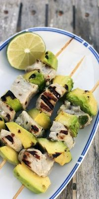 Grilled chicken and Avocado skewers
