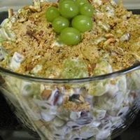 """Grape Salad. """"OMG, I had a friend bring this to a BBQ. I made her leave the rest and ate on it for like a week!!!! Seriously AMAZING"""" said poster.."""