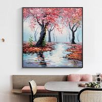 Framed wall art Abstract floral painting knife Original pink painting heavy texture Landscape Painting on Canvas tree painting Wall Pictures $148.75