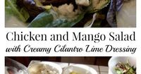 Chicken and Mango Salad with Creamy Cilantro Lime Dressing - The creamy cilantro lime dressing uses yogurt as a low cal substitute for mayo and sour cream.