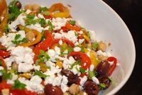 Checkout this incredibly flavorful Mediterranean Peppers and Olives Salad Recipe at LaaLoosh.com. Just 5 Points + for a delicious salad that is loaded with hear