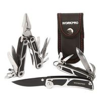 WORKPRO 3Pcs Camping Tool Set Multi Pliers Tactical Knife Saw Bottle Opener Scissor Screwdriver Survival Tool Kits