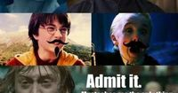 I can't decide which mustache is the funniest... Snape looks like an old western man.