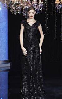 Formal Sheath Scalloped Neck Cap Sleeve Black Sequin Lace Evening Prom Dress