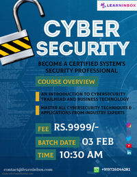 Cyber Security Certification Course with Ethical Hacking Technique: �€�10+tools �€�Project �€�Basic to Advanced �€�45 hours �€�50 + Topics �€�Practical Session �€�Online Live session �€�Inter...
