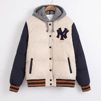 2015 New Arrival NY Letters Cream Navy Winter Outwear Jacket with Hoodie