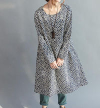 Women Small floral knee length linen loose fitting dress