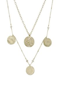 Elite Coin and Crystal Layered 18kt Gold Plated Necklace Set �'�50.00