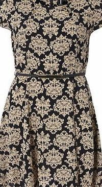 Dorothy Perkins Womens Izabel London Beige Belted Baroque Dress- Beige short sleeved belted dress. Round neckline. Zip fastening. Length 96cm. 100% Viscose. Remove belt before wash. Cold hand wash. Do not dry clean. http://www.comparestoreprices.co.uk...