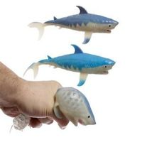 Fun Kids Squeezable Shark ~ supplied at random  Ideal for party bags and stocking fillers, or just as gifts for shark lovers of all ages !!!  CE marked for children over 3 years.  Dimensions: Height 7cm Width 22cm Depth 9cm