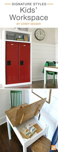 Keep your kids motivated with this fun and functional workspace. The steel lockers are ideal for storing school supplies while a wooden homework table keeps kids' work neatly tucked away. A vintage-style wall clock and wire baskets bring schoolhouse...