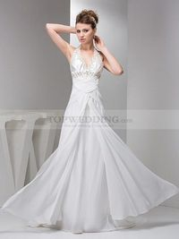 HALTER V NECK CHIFFON WEDDING DRESS WITH SEQUINED APPLIQUE