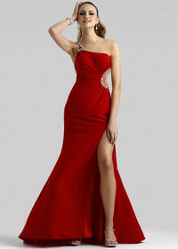 Red One Shoulder High Slit Jersey Gown With Beaded Side Cutout