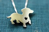 Dachshund necklace, sterling silver hand cut pendant, with heart, tiny dog breed jewelry on Etsy, $40.00