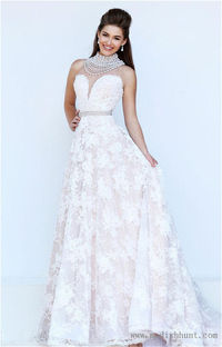 Long Ivory Lace Sherri Hill 11338 Prom Gown