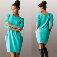 Long Sleeve Pocket O-neck Solid Loose Above-knee Mini Dress $21.49