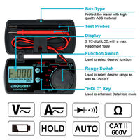 ALl SUN EM3082 Digital Multimeter 3 1/2 1999 AC/DC Ammeter Voltmeter Ohm Portable Meter Voltage Meter