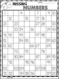 Free 120s chart math worksheet for spring. Write the missing numbers on the hundreds chart. As an extension activity, ask the students skip count numbers by 2s
