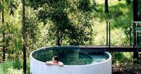 the �€˜plunge pool' utilizes the same prefabricated vessel used for the rainwater containment system. Brilliant! Not only is it a beautiful pool solution, in this case the benefits of these tanks go much deeper. The precast concrete rainw...