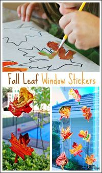 Create beautiful fall leaves window stickers with kids. This kids craft is a great way to create Fall decorations.