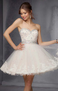 2014 Strapless Mini Homecoming Dress by Sticks and Stones by Mori Lee 9278