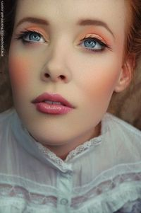 """""""pretty peach makeup"""". Not a huge fan of the eyes but the rest is pretty"""