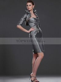 Sweetheart Ruched Taffeta Sheath Mother of the Bride Dress with Jacket