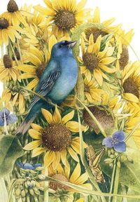 Blue bird & yellow flowers by Marjolein Bastin