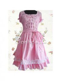 Pink Lace Square-neck Cap Sleeves Sweet Lolita Dress