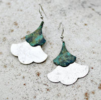 Bohemian Earrings, Patina, Leaf, Teal, Dangle, Silver, Verdigris, Bohemian Wedding, Rustic, Verdigris. Modern, Gift for Her, Women's