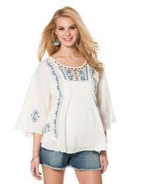 Just got this outfit and I love it!Jessica Simpson Short Sleeve Decorative Trim Maternity Shirt