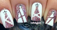 White and pink sparkles christmas tree nail art by nailsbyjoha #manicure - we love this design as an accent nail too...x