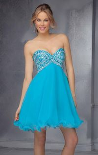 Mori Lee 9290 Strapless Chiffon Homecoming Dress by Sticks and Stones