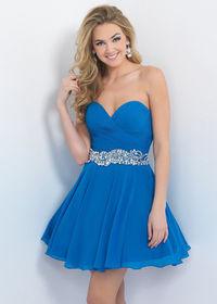 Simple Ocean Pleated Sweetheart Beaded Belt Homecoming Dress 2015